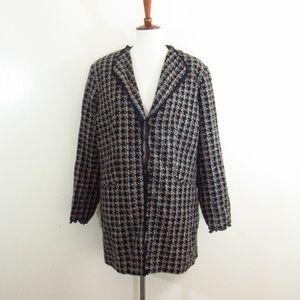 Worthington Black Houndstooth Plaid Woven Coat
